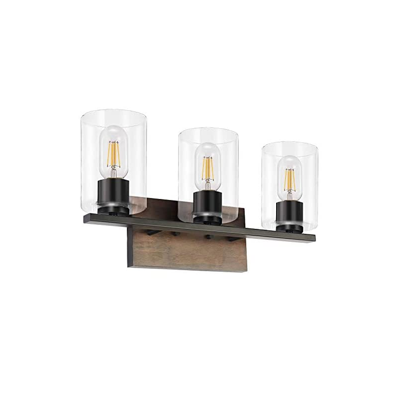 DRNANLIT 3-Light Farmhouse Vanity Light Fixture, Rustic Wood Finish Wall Sconce with Clear Glass Shade, Vintage Wall…