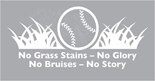 23X 10 Wall Decor Plus More WDPM3838 Stickers No Grass Stains-No Glory Baseball Decal Letters Wall Art for Cool Room Decor White 23x10-Inch