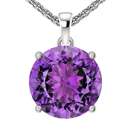 Belinda Jewelz 14k Rhodium Plated White Gold Round Cut Gemstone Sparkling Rope Chain Sterling Silver Birthstone Fine Jewelry Classic Womens Hanging Pendant Necklace, 3.3 Carat Amethyst Purple, 18 inch
