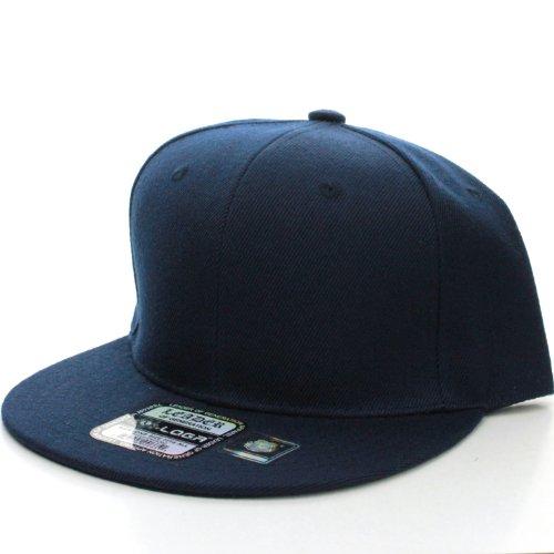 L.O.G.A Plain Flat Bill Visor Blank Snapback Hat Cap with Adjustable Snaps - Navy