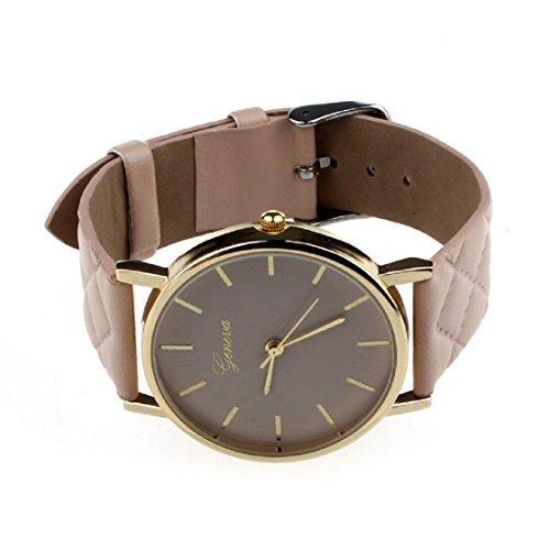 Vovotrade®Unisex casual Checkers Faux-Leder-Quarz-analoge Armbanduhr(Khaki)