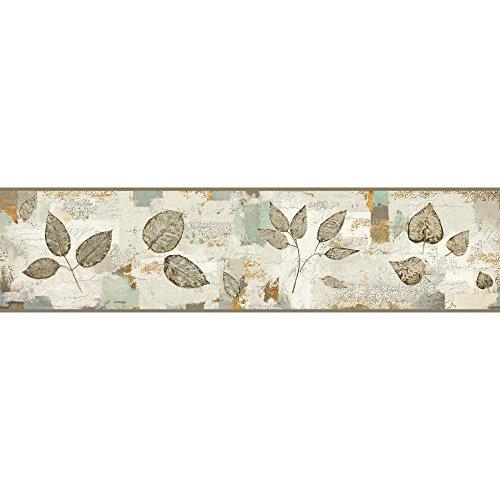 York Wallcoverings Pressed Leaves Border, Grey, Aqua