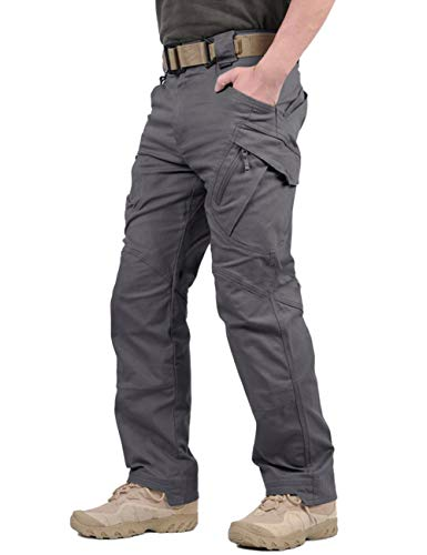 TACVASEN Men's Tactical Urban Ops Tactical Pants Climbing Hiking Hunting Cargo Pants Trousers Gray,36 -