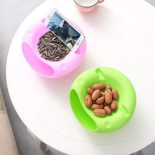 Joylive 1Pcs Bowl Double Layer Dry Fruit Contaners Snacks Seeds Storage Box Garbage Holder Plate Dish Organizer with Phone Holder by Joylive (Image #4)