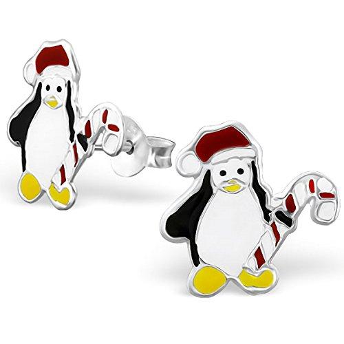 JAYARE® Boucles d'oreilles Enfants pingouins 14 x 10 mm Email argent sterling 925 multicolore avec étui de cadeau clou d'oreilles fille