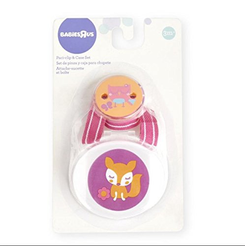 Amazon.com : Babies R Us Pacifier Clip & Case Set Owl and Fox - Pink ...