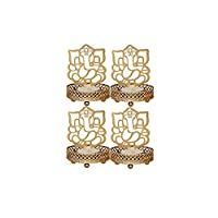 JD PRODUCTS Metal Shadow Divine Lord Ganesha Tealight Candle Holder(Brown) - Set of 4