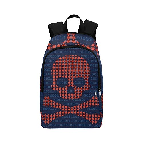 Computer Virus Infection Skull Death Flat Casual Daypack Travel Bag College School Backpack for Mens and Women