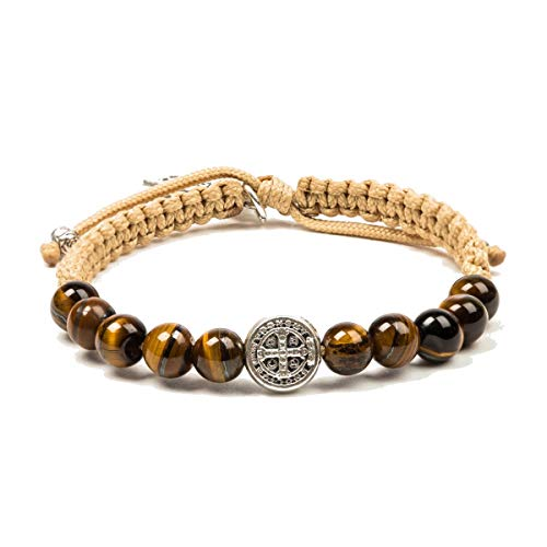 (My Saint My Hero Wake Up and Pray Meditation Bracelet - Tigers Eye Beads with Silver-Tone Medal on Tan Cord)