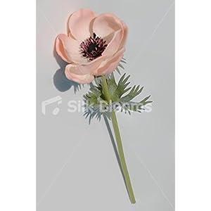 Single Artificial Fresh Touch Peach Anemone, Silk Peach Poppy 4