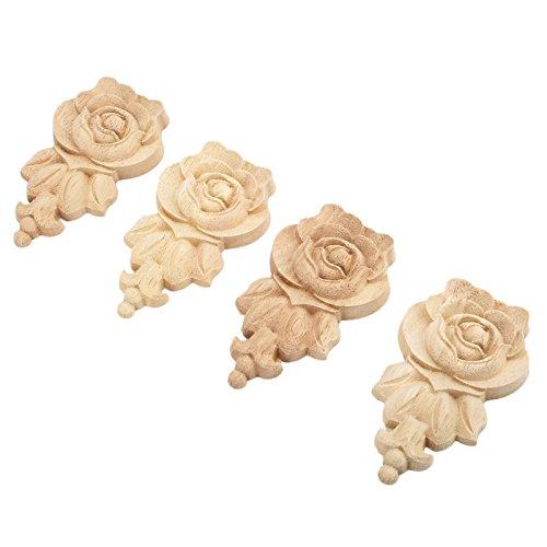 MUXSAM 4pcs 10x6cm Wood Carved Corner Onlay Applique Door Cabinet Rose Unpainted European Style -