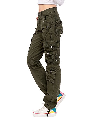 6 Pocket Cargo Pant (Gooket Women's Cotton Casual Straight Leg Cargo Pants With Multiple Pockets Army Green Tag 31-US 6)