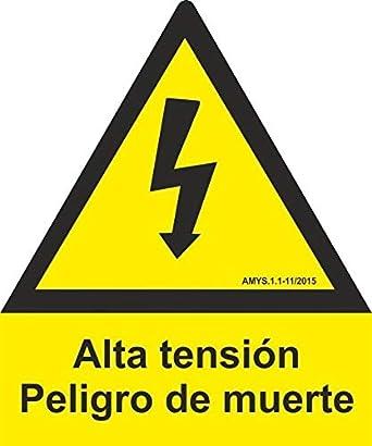 MovilCom® - SEÑAL ALUMINIO PENTAGONO ALTA TENSION 105mm LADO homologado nueva legislación (ref.RD64103)