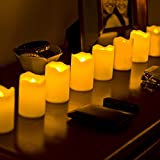 """Set of 8 Resin Flameless Battery Operated 3"""" LED Votive Candles with Warm Amber and Color Changing Modes. Batteries Included."""