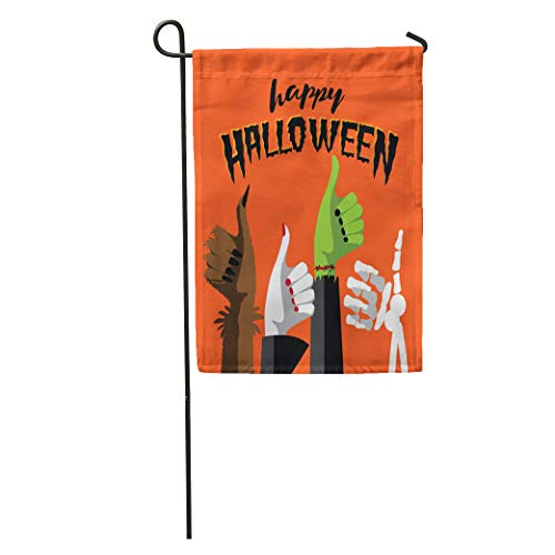 Semtomn Garden Flag Flat Happy Halloween Thumbs Up Werewolf Witch Zombie and Skeleton Home Yard House Decor Barnner Outdoor Stand 12x18 Inches Flag]()