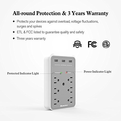 Large Product Image of Huntkey 6 AC Outlets Surge Protector with 3 USB Charging Ports 3.4 Amp, SMD607
