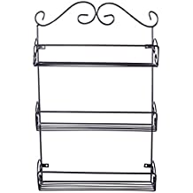 Home Traditions 3 Tier Metal Wire Pantry Spice Rack Shelf Organizer w/Hanging Hardware