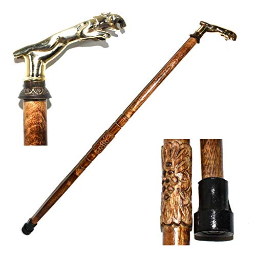 Eve.Store Jaguar Head Handle Walking Stick Folding Wooden Brass Inlaid Walking Cane. -