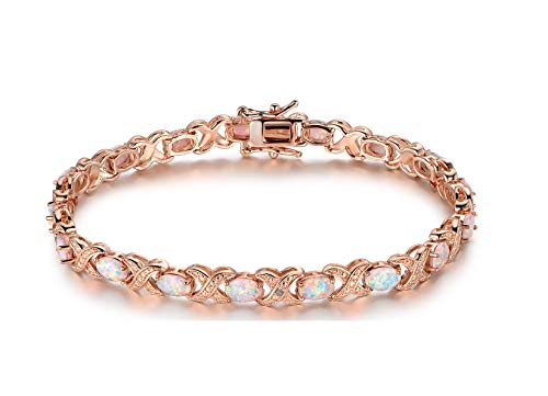 Gemstone Rose Gold Bracelet - Barzel Gold, White Gold Plated or Rose Gold Plated Created-Gemstones Tennis Bracelet (Rose-Gold-Plated-Brass, Created Opal)