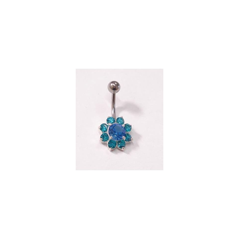 Blue and Teal Flower Belly Ring