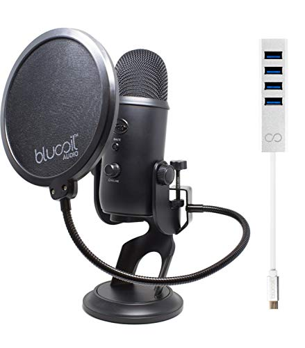 Blue Microphones Yeti USB Mic for Pro Studio Recording (Blackout) Bundle with Blucoil USB C-Type Mini Hub with 4 USB Ports and Pop Filter Windscreen ()