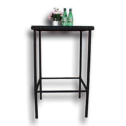Marvelous Amazon Com Patio Rattan Bar Table High Leg Suqare Bar Table Creativecarmelina Interior Chair Design Creativecarmelinacom