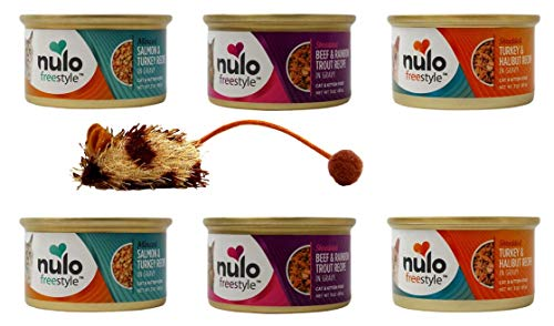 Nulo Freestyle Gourmet Cat Kitten Food 3 Flavor 6 Can with Catnip Mouse Sampler Bundle, 2 Each: Minced Salmon Turkey, Shredded Beef Rainbow Trout, Shredded Turkey Halibut (3 Ounces)