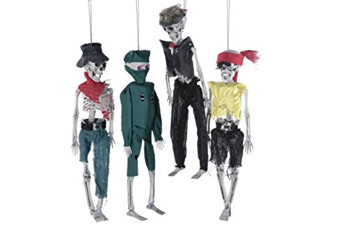 Juvale 4-Pack Halloween Hanging Decorations, Plastic Skeleton Decor, Ideal for Halloween, Haunted Houses and Themed Parties ()