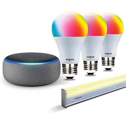 Smart lighting bundle: 1 Echo Dot (Grey) + 3 Wipro 9W color bulb (screw type socket) + 1 Wipro smart batten/tubelight