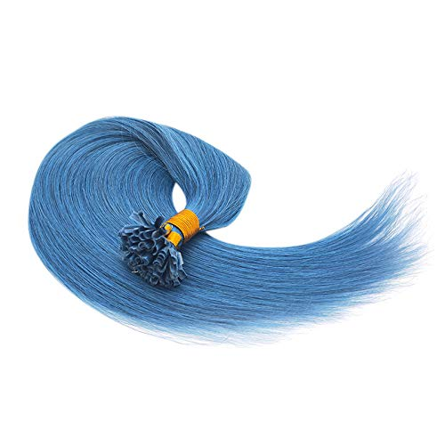 "100g 1g/s U-Tip Remy Human Hair Extensions Nail Tip Hot Fusion Hair Pre-bonded Hair Keratin Hair Extensions (20"", Blue)"