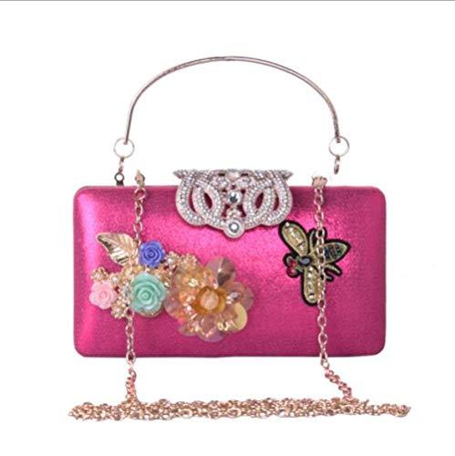 Women Bag 's De Cuir En Rosered Perle Main Diamant à Sac DHFUD De Flower Evening d4pwpqH