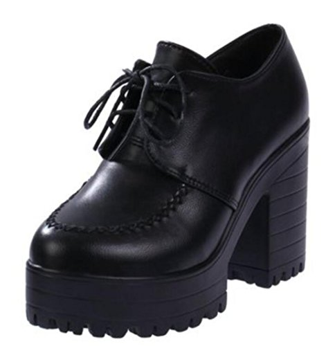 ACE SHOCK Women's Girl's Lolita Low Top Japanese Students Maid Uniform Dress Shoes (7.5, Black) by ACE SHOCK