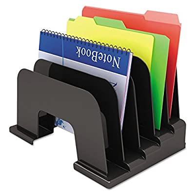 """Universal Large Incline Sorter, Five Sections, Plastic, 13 1/4"""" x 9"""" x 9, Black (8105)"""