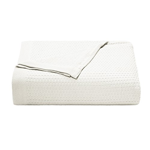 Nautica 216087 Baird White Cotton Blanket, Full/Queen,White