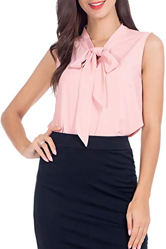 AUQCO Women's Chiffon Blouse Business Sleeveless Shirt for Work Casual Pink