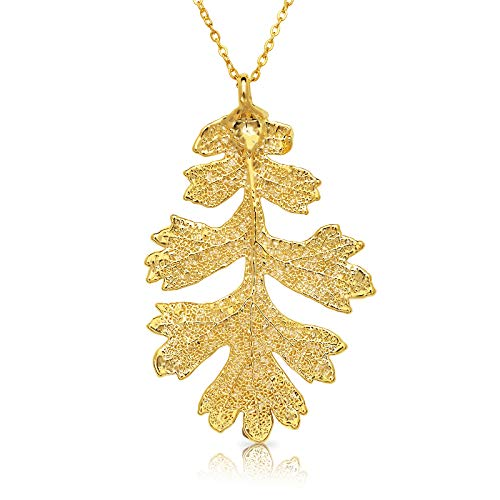 Allmygold Jewelers 24k Gold Dipped Oak Leaf with Gold-Plated Chain