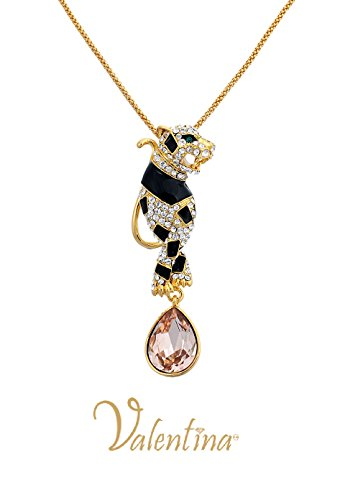 Valentina Gold Plated Panther With Enamel & Swarovski Amber Large Crystal Sweater Necklace