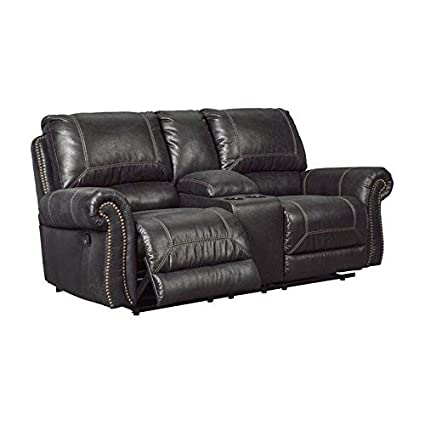 Ashley Milhaven Double Reclining Faux Leather Loveseat in Black