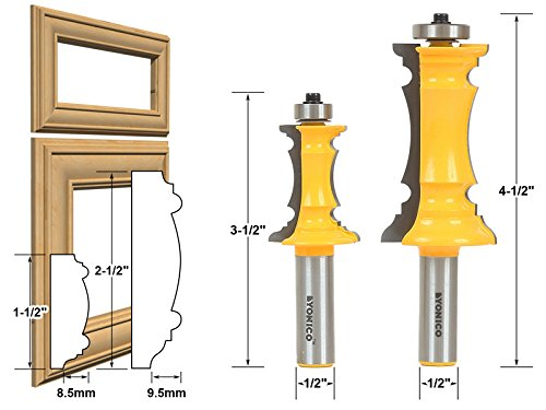 Yonico 16266 Mitered Door Molding Router Bit with 1/2 Shank