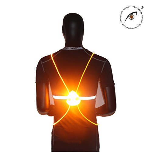 SEEBOY Yellow Angel Wings LED Blinking Strip Light Outdoor Reflective Sports Camping Flash Vest For Night Running Outdoor Safety - Multifunction Modes of Light ( Flash , Gradient ,Continuous Light ) (Led Light Vest)