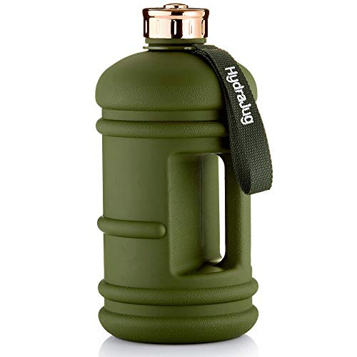 Half Gallon Water Jug | Dishwasher Safe BPA Free Material | Easy to Carry, Big Capacity, Reusable Large Water Bottle for Daily Hydration [1/2 Gallon - 2.2 Liter Jug] (Army Green + Rose Gold Lid)