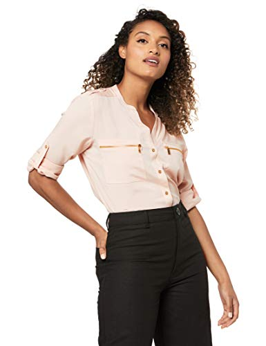 Calvin Klein Women's Modern Essential Zipper Button Front Blouse,Blush,Large