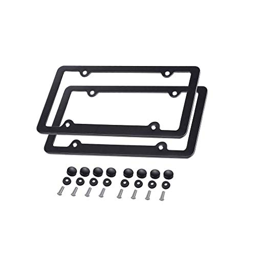 Ibetter 2 PCS Aluminum Metal License Plate Frame, Slim Car Licence Plate Holder Covers with Bolts, Washers and Chrome Screw Caps for US Standard(Black 4 Holes) ()