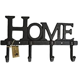 "Lulu Decor, Cast Iron "" Home"" Shape Key Holder, Coat Hanger"