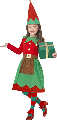 Smiffy's Children's Santa's Little Helper Costume, Dress and Hat, Color: Green and Red, Ages 7-9, Size: Medium, 39104 (Santa Little Helper Costumes)