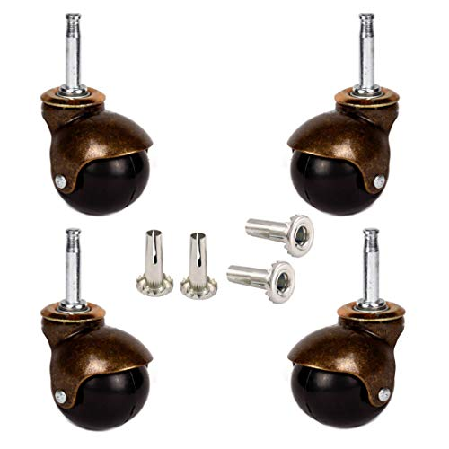 """MySit 2"""" Ball Casters Wheels for Furniture Casters Set of 4, Antique Copper Gold Ball Caster with 5/16"""" x 1 1/2"""" (8 x 38mm) Mounting Stem Sleeve Socket Insert Replacement for Sofa Chair Cabinet"""