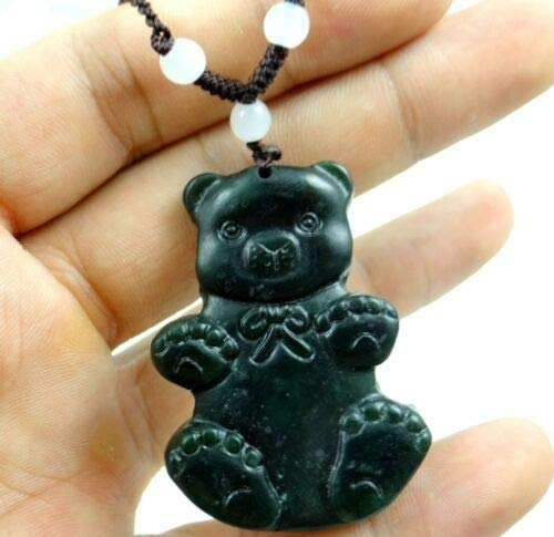 (FidgetKute Beautiful100% Chinese Jade Hand-Carved The Statue of Xiong Pendant AA42)