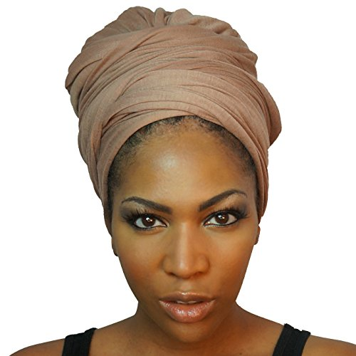 Headwrap in Stretch Jersey Knit - Long Head wrap Scarf - Camel