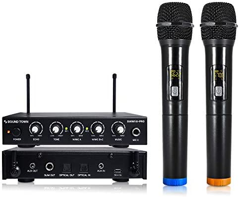 Sound Town 16 Channels Wireless Microphone Karaoke Mixer System with Optical (Toslink), AUX and 2 Handheld Microphones – Supports Smart TV, Home Theater, Sound Bar (SWM16-PRO)