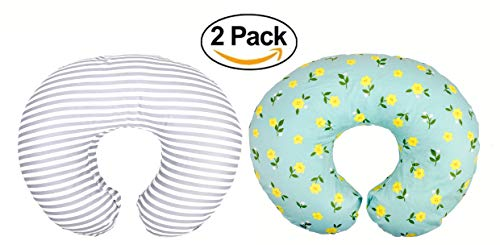 Charm Newborn Baby Bottle - Premium Quality 2 Pack Nursing Pillow Covers by Mila Millie | Baby Girl Chic Flower Design | Gray Stripes Unisex Slipcover | 100% Cotton Hypoallergenic | Breastfeeding | Shower Gift | Fits Boppy